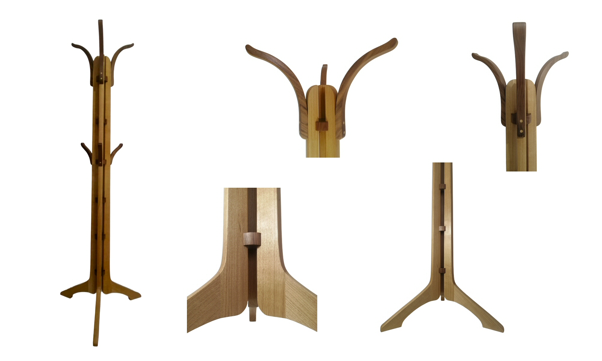 walnut and oak coat stand image from gallery - bespoke furniture handcrafted by Richard Frost Design